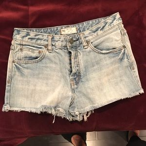 Free People cut off jean shorts button fly 27